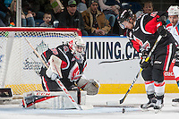 KELOWNA, CANADA - JANUARY 18: Brody Willms #35 of the Moose Jaw Warriors defends the net against the Kelowna Rockets on January 18, 2017 at Prospera Place in Kelowna, British Columbia, Canada.  (Photo by Marissa Baecker/Shoot the Breeze)  *** Local Caption ***