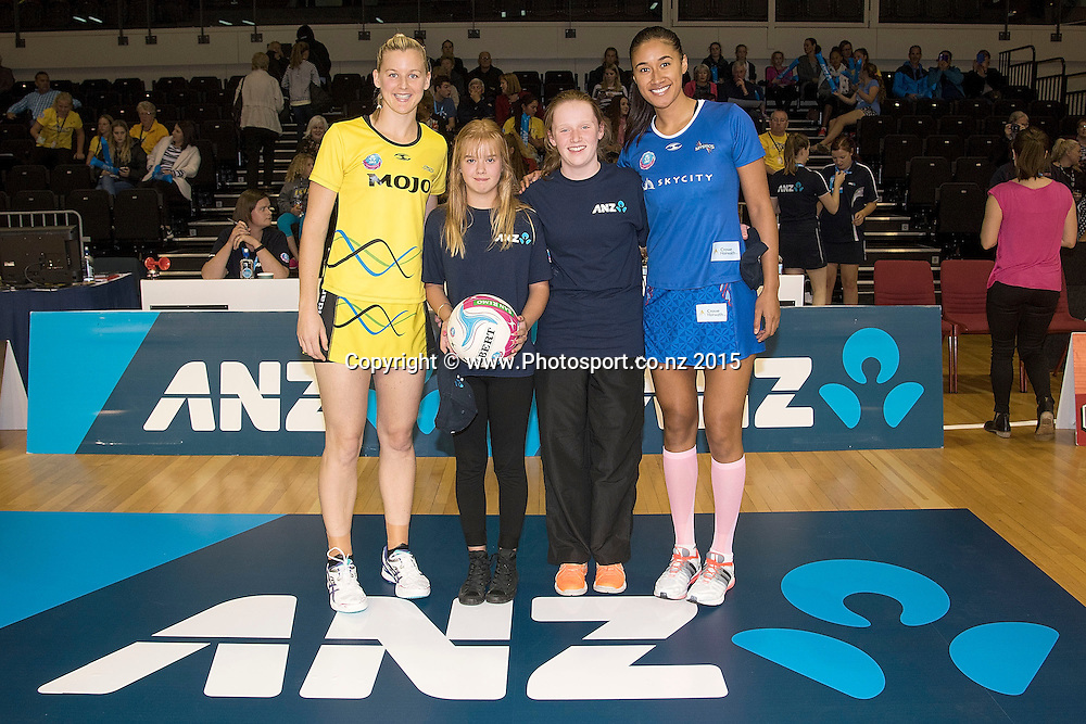 Pulse's captain Katrina Grant (L) with future captains Joanne Temple (Center L), Adelene Imiach (Center R) and Mystic's captain Maria Tutaia (R during the ANZ Championship - Pulse v Mystics netball match at the TSB Arena in Wellington on Monday the 13th of April 2015. Photo by Marty Melville / www.Photosport.co.nz