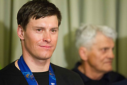 Ivica Kostelic of Croatia, silver medallist and his father Ante Kostelic during reception at arrival from Sochi Winter Olympic Games 2014 on February 23, 2014 in Airport Zagreb, Croatia. Photo by Vid Ponikvar / Sportida