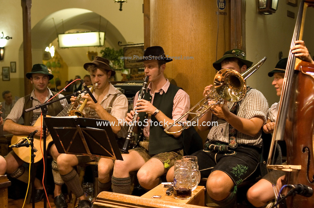 Germany, Bavaria, Munich, Oktoberfest players in the beer hall