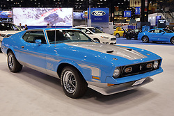 09 February 2017: 1971 Ford Mustang Mach 1 signed by Tommy Chong <br /> <br /> First staged in 1901, the Chicago Auto Show is the largest auto show in North America and has been held more times than any other auto exposition on the continent.  It has been  presented by the Chicago Automobile Trade Association (CATA) since 1935.  It is held at McCormick Place, Chicago Illinois<br /> #CAS17