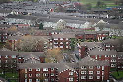 © Licensed to London News Pictures . FILE PICTURE DATED 14/12/2013 of housing in Oldham Town Centre as viewed from the roof of Oldham Civic Centre . Oldham has been named England's most deprived town by the Office for National Statistics today (18th March 2016) . Photo credit : Joel Goodman/LNP