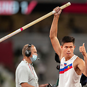 TOKYO, JAPAN August 3:   Ernest John Obiena of the Philippines during the Pole Vault Final for Men at the Olympic Stadium during the Tokyo 2020 Summer Olympic Games on August 3rd, 2021 in Tokyo, Japan. (Photo by Tim Clayton/Corbis via Getty Images)