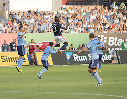August 20, 2017 - New York, New York, United States - Kei Kamara (23) of New England Revolution controls ball during regular MLS game against NYC FC on Yankee stadium NYC FC won 2 - 1  (Credit Image: © Lev Radin/Pacific Press via ZUMA Wire)
