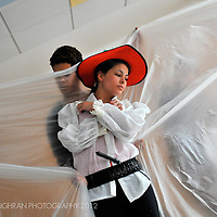 Two students perform at a CaixaEscena theatre workshop in Torremolinos, Costa del Sol, Spain.