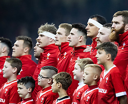 Wales during the anthems<br /> <br /> Photographer Simon King/Replay Images<br /> <br /> Friendly - Wales v Barbarians - Saturday 30th November 2019 - Principality Stadium - Cardiff<br /> <br /> World Copyright © Replay Images . All rights reserved. info@replayimages.co.uk - http://replayimages.co.uk