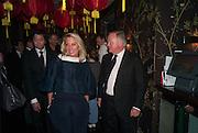 LADY BAMFORD; SIR ANTHONY BAMFORD, Chinese New Year dinner given by Sir David Tang. China Tang. Park Lane. London. 4 February 2013.