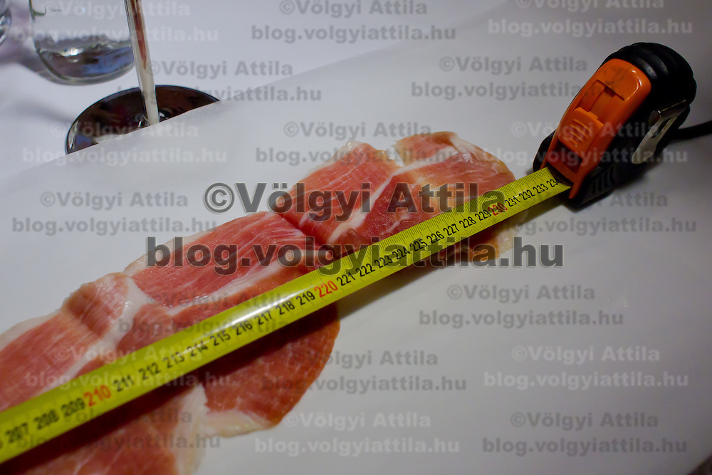 The winning 234 cm long slice by Andras Godor laid for judging during the first ever ham slicing competition in Budapest, Hungary on May 9, 2012. ATTILA VOLGYI