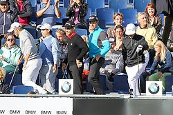 23.06.2015, Golfclub München Eichenried, Muenchen, GER, BMW International Golf Open, Show Event, im Bild l-r: die Spieler verlassen die Tribuene, Maximilian Kieffer (GER), Fabrizio Zanotti (PAR), Camilo Villegas (COL), Henrik Stenson (SWE) und Thorbjorn Olesen (DEN) // during the Show Event of BMW International Golf Open at the Golfclub München Eichenried in Muenchen, Germany on 2015/06/23. EXPA Pictures © 2015, PhotoCredit: EXPA/ Eibner-Pressefoto/ Kolbert<br /> <br /> *****ATTENTION - OUT of GER*****