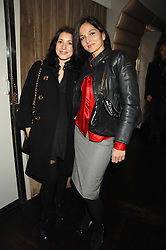 Left to right, LAUREN KEMP and YASMIN MILLS at a party to celebrate the launch of the Kova & T fashion label and to re-launch the Harvey Nichols Fifth Floor Bar, held at harvey Nichols, Knightsbridge, London on 22nd November 2007.<br />