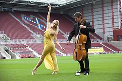 Ballet dancer Eve Mutso and cellist Donald Gillan at launch of Edinburgh International Festival programme, Tynecastle stadium. Pic Terry Murden @edinburghelitemedia