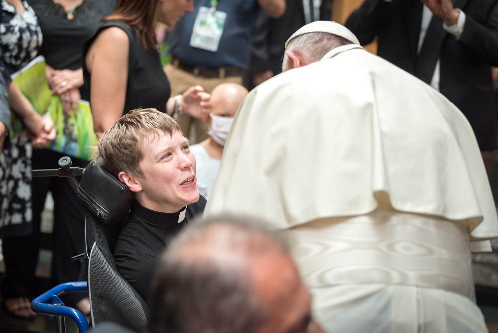 """21 June 2018, Geneva, Switzerland: On 21 June 2018, the World Council of Churches receives a visit from Pope Francis of the Roman Catholic Church. Held under the theme of """"Ecumenical Pilgrimage - Walking, Praying and Working Together"""", the landmark visit is a centrepiece of the ecumenical commemoration of the WCC's 70th anniversary. The visit is only the third by a pope, and the first time that such an occasion was dedicated to visiting the WCC. Here, an ecumenical prayer service with religious leaders from all over the world. Here, Pope Francis meets WCC Central Committee member Miriam Spies."""
