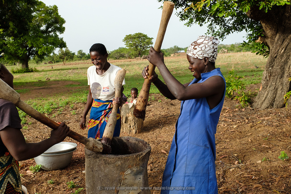 Women pounding a shea nuts in the village of Lyssah in the Upper West region of Ghana. Though incredibly labour-intensive, shea butter production provides an important income stream for many women in the Upper West.
