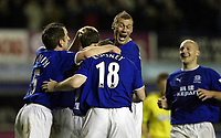 Photo. Aidan Ellis.<br />Everton v Charlton. <br />Carling Cup Round 3.<br />29/10/2003.<br />Everton's Tobias Linderoth is mobbed by team mates after scoring