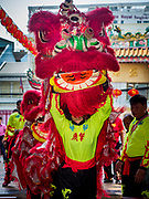 16 FEBRUARY 2018 - BANGKOK, THAILAND: A Lion Dancer enters Canton Shrine during Chinese New Year celebrations in the Chinatown neighborhood of Bangkok. Thailand has a large Chinese community and Lunar New Year is widely celebrated, especially in larger cities. This will be the Year of the Dog.       PHOTO BY JACK KURTZ
