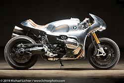 SMW 61-B, an LSR style custom built from a BMW RnineT by Cristian Sosa of Sosa Metalworks in Las Vegas, Nevada. The Handbuilt Show. Austin, Texas USA. Friday, April 12, 2019. Photography ©2019 Michael Lichter.