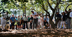 Matt Kuchar plays his ball from the woods along the 8th fairway during the third round of the Masters Tournament at Augusta National Golf Club in Augusta, Ga., on Saturday, April 8, 2017. (Photo by Brant Sanderlin/Atlanta Journal-Constitution/TNS) *** Please Use Credit from Credit Field ***