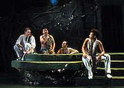 "Mara Lavitt -- Special to the Hartford Courant<br /> March 24, 2016<br /> The run-through of William Shakespeare's ""Cymbeline,"" at the University Theatre at Yale. From left: Jeffrey Carlson as Iachimo, Anthony Cochrane as Philario, Robert David Grant as Frenchman, and Miriam A. Hyman as Posthumus Leonatus."