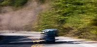 scene along a cross country trip with in a classic Mini Cooper auto -