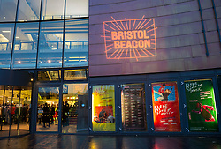 """© Licensed to London News Pictures; 30/09/2021; Bristol, UK. The concert venue """"Bristol Beacon"""" reveals a new logo, look and vision to help everyone in Bristol 'make space for music'. The entertainment and music venue was formerly called the Colston Hall and the main concert hall is is currently undergoing a major refurbishment. After revealing its new name one year ago, Bristol Beacon commissioned three local young emerging artists – Rosa ter Kulie, Jasmine Thompson and Greg Keen – from Bristol's Rising Arts Agency to work alongside leading agency Saboteur to develop an identity that they felt reflected the name and the city of Bristol and the new brand showcases the breadth of work that Bristol Beacon delivers beyond its role as a major music venue. The Trust said four years ago that they would change the name due to the long standing controversy of the name being associated with the 17th century slave trader Edward Colston, though the hall, situated on Colston Street, was not itself connected with Colston's legacies to the city of Bristol. Last year the statue of Edward Colston was toppled and thrown into Bristol harbour during a Black Lives Matter protest. Photo credit: Simon Chapman/LNP."""