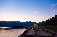 Ranforest Camp Elephant Hills Luxury Floating Tented Camp in the rainforest in Southern Thailand. A longtail boat ride on Cheow Larn Lake.