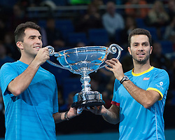 21-11-2015 GBR: ATP Tennis Tour Finals day 7, London<br /> Jean-Julien Rojer [NED] and Horia Tecau [ROU] receive year end ATP Tour No1 Doubles awarded by Emirates after their semi final win over Bob and Mike Bryan.<br /> <br /> ***NETHERLANDS ONLY***