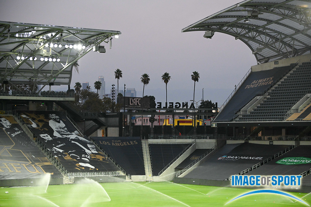 General overall view of the Banc of California Stadium without fans before a MLS soccer game, Sunday, Sept. 27, 2020, in Los Angeles. The San Jose Earthquakes defeated LAFC 2-1.(Dylan Stewart/Image of Sport)