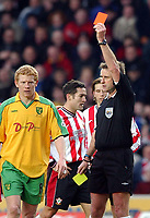 Photo. Javier Garcia<br />15/02/2003 Southampton v Norwich, FA Cup 5th Round, St. Mary's Stadium<br />By the time Graham Barber showed Malky Mackay this red card he was half way to the players tunnel