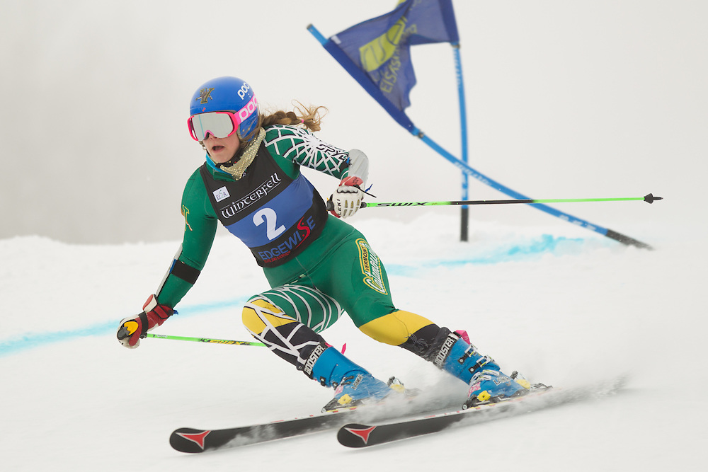 Elise Tefre of the University of Vermont, skis during the first run of the women's giant slalom at the Colby College Carnival at Sugarloaf Mountain on January 17, 2014 in Carabassett Valley, ME. (Dustin Satloff/EISA)