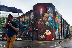 Said to be the UK's largest mural, a data centre in Shoreditch, London, has been painted with a connectivity themed collaboration between several artists. London, August 09 2018.