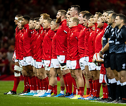 Wales during the anthems<br /> <br /> Photographer Simon King/Replay Images<br /> <br /> Friendly - Wales v Ireland - Saturday 31st August 2019 - Principality Stadium - Cardiff<br /> <br /> World Copyright © Replay Images . All rights reserved. info@replayimages.co.uk - http://replayimages.co.uk