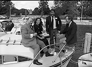 """Galway Oyster Festival..1982.09.09.1982.09.09.1982.9th September 1982..Photo of the Galway Oyster Festival..The Festival was held on the banks of the Shannon at Portumna Co.,Galway..It was held in the picturesque new marina. The event was sponsored by Guinness. Emerald Star line were also represented..Picture shows Mr.R.B.Howick,Trade Director,Guinness Group Sales.Ms Marion Fitzpatrick, Oyster Festival """"Pearl"""". Mr John Lefroy, Manager, Emerald Star Line and Festival Chairman Mr. Donal Morrissy"""