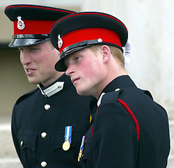 File photo dated 12/4/2006 of Prince William and Harry at the Sandhurst Royal Military Academy after The Sovereign's Parade that marked the completion of Prince Harry's Officer training.