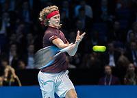 Tennis - 2017 Nitto ATP Finals at The O2 - Day Five<br /> <br /> Group Boris Becker Singles: Alexander Zverev (Germany) Vs Jack Sock (United States)<br /> <br /> Alexander Zverev (Germany) strikes the return at the O2 Arena<br /> <br /> COLORSPORT/DANIEL BEARHAM