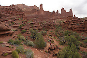 SHOT 5/7/16 10:25:43 AM - Moab is a city in Grand County, in eastern Utah, in the western United States. Moab attracts a large number of tourists every year, mostly visitors to the nearby Arches and Canyonlands National Parks. The town is a popular base for mountain bikers and motorized offload enthusiasts who ride the extensive network of trails in the area. Includes images of Scenic Byway 128, Fisher Towers and downtown Moab. (Photo by Marc Piscotty / © 2016)