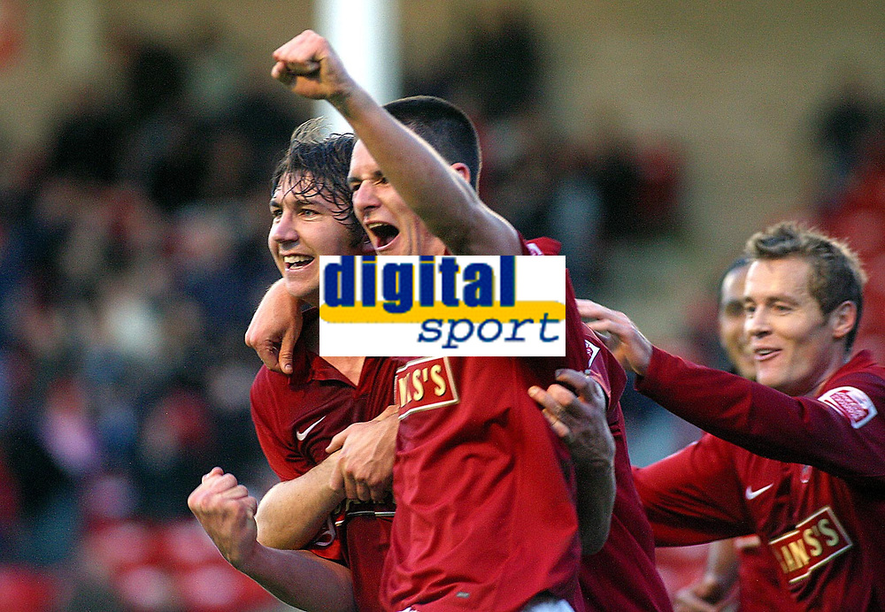 Photo: Dave Linney.<br />Walsall v Notts County. Coca Cola League 2. 25/11/2006.<br />Walsall goalscorer Ian Roper(L) celebrates with   Scott Dann (R)after making it 2-0 to the Saddlers.