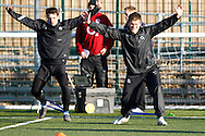 Picture by Andrew Tobin/Focus Images Ltd. 07710 761829.. 2/2/12. Ben Foden (L) and Owen Farrell (R) stretch during the England team training session held for the first time at Surrey Sports Park, Guildford, UK, before their 6-Nations game against Scotland