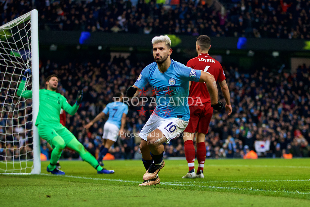 MANCHESTER, ENGLAND - Thursday, January 3, 2019: Manchester City's Sergio Aguero celebrates scoring the first goal during the FA Premier League match between Manchester City FC and Liverpool FC at the Etihad Stadium. (Pic by David Rawcliffe/Propaganda)