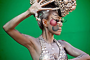 Model posing for photographers at the International Bodypainting Festival in Daegu. At the International Body Painting Festival in Daegu artists from all over the world have the opportunity to show their own specialties in body painting. The festival is one of the largest events in the field of body painting and is visited by a large amount of visitors every year.