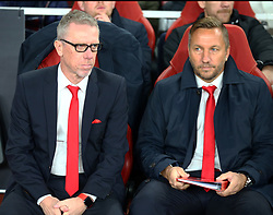 September 14, 2017 - London, Greater London, United Kingdom - L-R Peter Stoger manager of 1.FC Koln and Assistant coach Manfred Schmid.during UEFA Europa League Group H match between Arsenal and 1.FC Koln at The Emirates , London 14 Sept 2017  (Credit Image: © Kieran Galvin/NurPhoto via ZUMA Press)