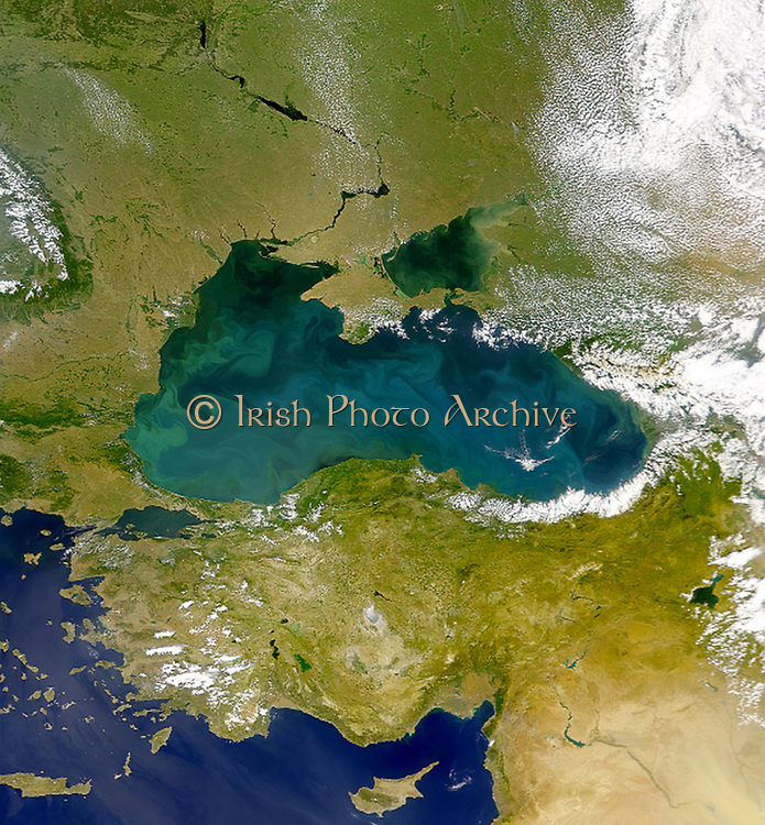 Satellite view of the land mass of Turkey and the Black Sea.