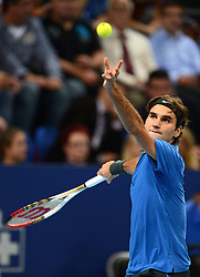 26.10.2012, St. Jakobshalle, Basel, SUI, ATP, Swiss Indoors, im Bild Roger Federer (SUI) // during ATP Swiss Indoors Tournament at the St. Jakobshall, Basel, Switzerland on 2012/10/26. EXPA Pictures © 2012, PhotoCredit: EXPA/ Freshfocus/ Andy Mueller..***** ATTENTION - for AUT, SLO, CRO, SRB, BIH only *****