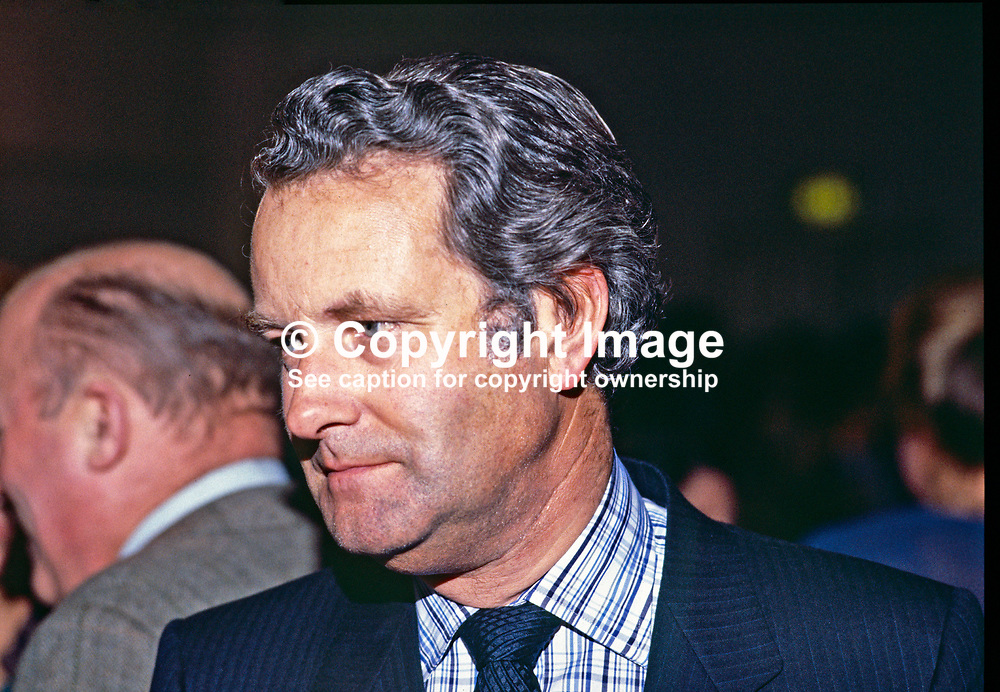 Stratton Mills, Belfast, N Ireland, UK, solicitor, former Ulster Unionist, Independent Unionist and Alliance Party MP at Westminster. 19850501SM.<br /> <br /> Copyright Image from Victor Patterson, Belfast, UK<br /> <br /> t: +44 28 9066 1296 (from Rep of Ireland 048 9066 1296)<br /> m: +44 7802 353836<br /> e: victorpattersonbelfast@gmail.com<br /> <br /> www.images4media.com<br /> <br /> Please see my full Terms and Conditions of Use at https://www.images4media.com/p/terms-conditions - it is IMPORTANT that you familiarise yourself with them.<br /> <br /> Images used online incur an additional cost. This cost should be agreed in writing in advance. Online images must be visibly watermarked i.e. © Victor Patterson or that of the named photographer within the body of the image. The original metadata must not be deleted from images used online.<br /> <br /> This image is only available for the use of the download recipient i.e. television station, newspaper, magazine, book publisher, etc, and must not be passed on to a third party. It is also downloaded on condition that each and every usage is notified within 7 days to victorpattersonbelfast@gmail.com.<br /> <br /> The right of Victor Patterson (or the named photographer) to be identified as the author is asserted in accordance with The Copyright Designs And Patents Act (1988). All moral rights are asserted.