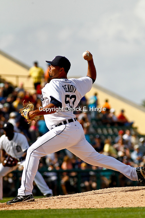 March 10, 2011; Lakeland, FL, USA; Detroit Tigers relief pitcher Joaquin Benoit (53) against the Washington Nationals during a spring training game at Joker Marchant Stadium. Mandatory Credit: Derick E. Hingle-US PRESSWIRE