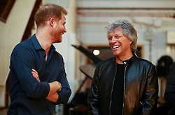 The Duke of Sussex meets Jon Bon Jovi during his visit Abbey Road Studios in London. PA Photo. Picture date: Friday February 28, 2020. They are recording a special single in aid of the Invictus Games Foundation. See PA story ROYAL Sussex. Photo credit should read: Hannah McKay/PA Wire
