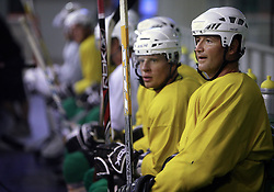 Players Ales Music and  Nik Zupancic at second ice hockey practice of HDD Tilia Olimpija on ice in the new season 2008/2009, on August 19, 2008 in Hala Tivoli, Ljubljana, Slovenia. (Photo by Vid Ponikvar / Sportal Images)