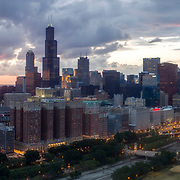 Aerial photography of the Chicago, Illinois downtown loop and skyscrapers, summer 2017.