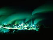 Night view of Catalyst Elk Falls Paper Mill, Campbell River, British Columbia, Canada.