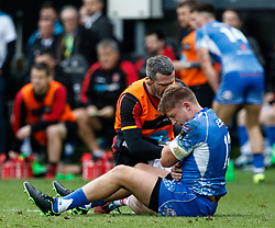 Tyler Morgan of Dragons receives medical attention<br /> <br /> Photographer Simon King/Replay Images<br /> <br /> Guinness PRO14 Round 18 - Ospreys v Dragons - Saturday 23rd March 2019 - Liberty Stadium - Swansea<br /> <br /> World Copyright © Replay Images . All rights reserved. info@replayimages.co.uk - http://replayimages.co.uk
