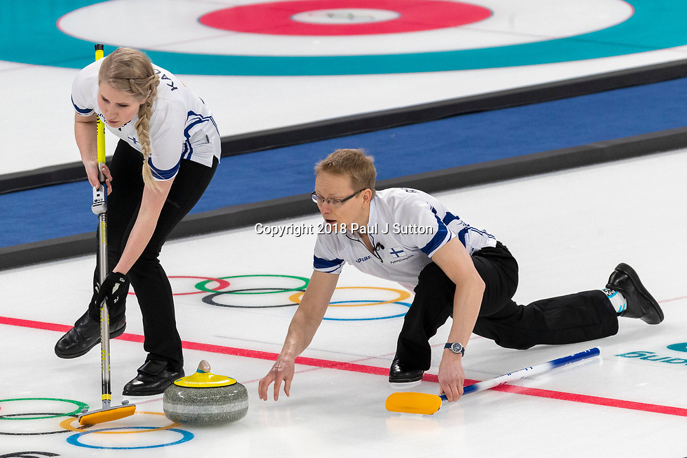 Tomi Rantamäki and Oona Kauste (FIN) competing in the Mixed Doubles Curling round robin at the Olympic Winter Games PyeongChang 2018